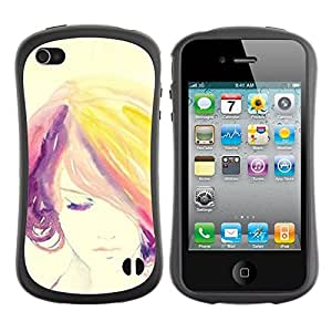 Paccase / Suave TPU GEL Caso Carcasa de Protección Funda para - Woman Colorful Hair Purple - Apple Iphone 4 / 4S