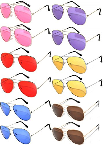 12 Pairs Classic Aviator Sunglasses Metal Gold Silver Black