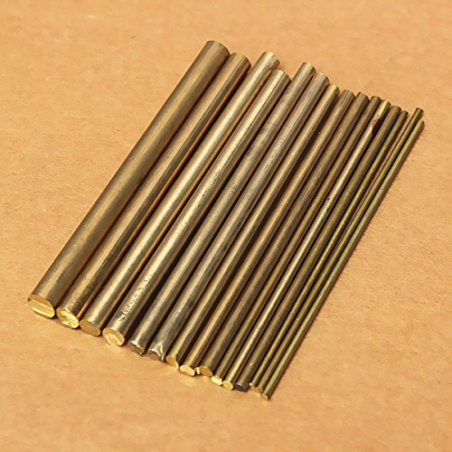 KingSo 15Pcs Brass Rods Industrial Wire Round Bar Dia 2-8mm Copper Tool for DIY 3 Copper Bars