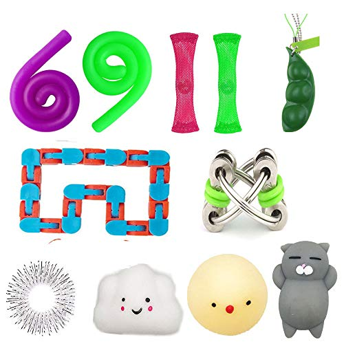 Sensory Fidget Toys 11 Pack, Mesh and Marble /Tracks /Fidget Bike Chains/ Sensory Strings/ Squeeze Beans/ Acupressure Finger Ring/Squishies Toy , Bundle Fidget Toys for for Autism ADD ADHD