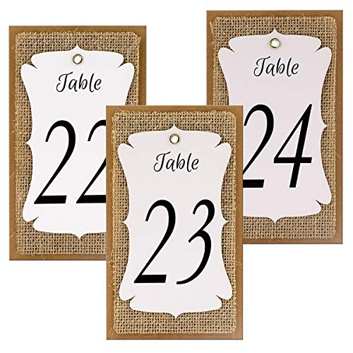 Summer-Ray Handmade Table Number White-Burlap-Kraft Triple Layer Wine Bottle Table Number Hang Tags for Rustic Weddings (Number 16 to 30) -