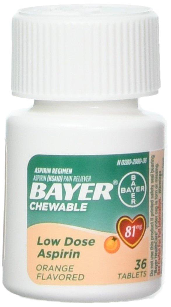Bayer Chewable Low Dose Aspirin, 81 mg Tablets, Orange 36 ea (Pack of 3)