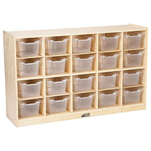Birch 20 Cubby Tray Cabinet with Clear Bins
