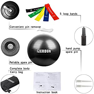 Exercise Ball - Anti Burst Tested Yoga Ball Supports 240lbs,Swiss Ball Includes Exercise Resistance Loop Bands & Hand Pump, Balance, Stability, Gym, Core Strength, Yoga, Fitness from FEIERDUN