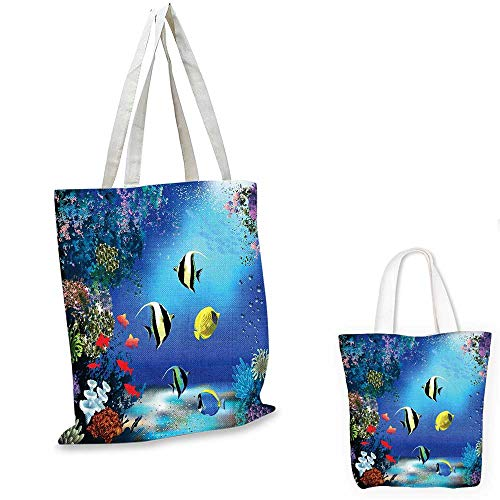 (Underwater fashion shopping tote bag Tropical Undersea with Colorful Fishes Swimming in the Ocean Coral Reefs Artsy Image canvas beach bag Blue. 12