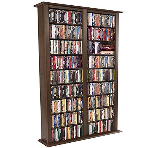 Venture Horizon Media Storage Tower- Tall Double - Walnut Dvd Cabinet Storage