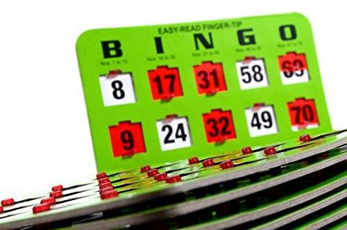 25 Green Easy Read Bingo Heavy Duty 5 Ply Jumbo Shutter Slide Cards