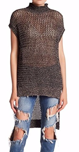 Clothing People Beautiful (Free People Womens Shimmer Asymmetric Tunic Top Black XS)