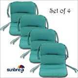 Set of 4 Outdoor Chair Cushions 20 x 36 x 3 H-19 in Sunbrella Fabric Aruba by Comfort Classics Inc.