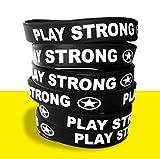 Play Strong Motivational Wristband Bracelets (Black, 6-Pack, Classic 1/2 x 7 Youth Size) Durable Silicone Bracelets, Team Coach Athlete Motivation #AllProfitsToHelpKids