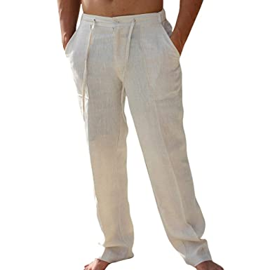 2d0c2596f Hibote Men's Short/Long Pants - Fashion Middle Waist Loose Fit Trousers  with Pockets Casual