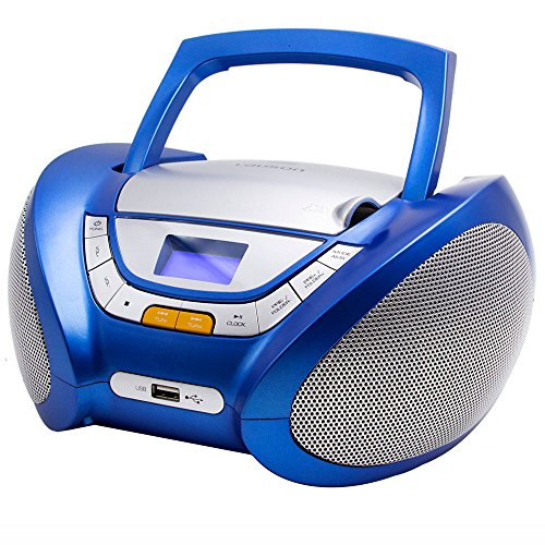(Lauson Boombox Whit Cd Player Mp3 | Portable Radio CD-Player Stereo with USB | USB & MP3 Player | Headphone Jack (3.5mm) CP546 (Blue))