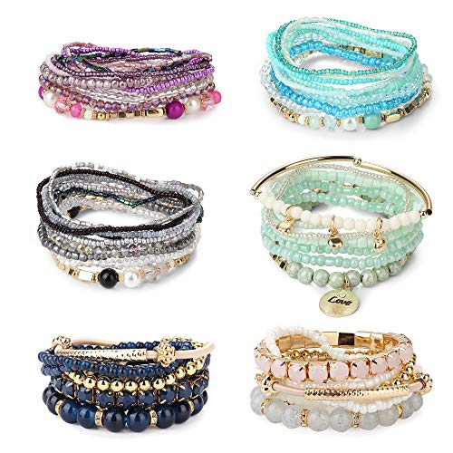 LOYALLOOK 6 Sets Bohemian Stackable Bead Bracelets for Women Girls Stretch Bangles Bohemian Style Stretch Multilayered Bracelet Set