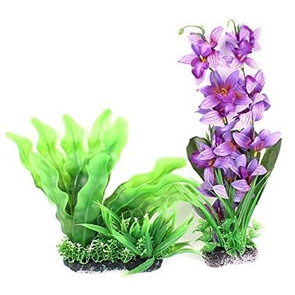 Amazon.com : eDealMax Simulación de plástico acuario Plantas de la decoración 2pcs púrpura Verde : Pet Supplies