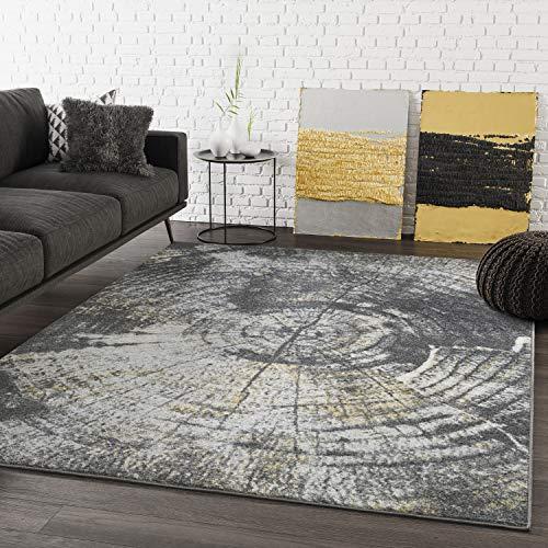 - ABANI Fractured Wood Area Rug - Laguna Collection, 8'x10', Grey, Turkish, LAG140A-8