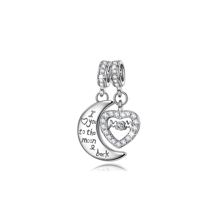 NINAQUEEN 925 Sterling Silver Double Heart Dangle Charms for Bracelet Engraved Mom I Love You to The Moon and Back, Ideal Christmas Jewelry Gifts for Wife & Mom