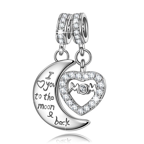 NINAQUEEN 925 Sterling Silver Charms, Engraved with Mom I Love You to the Moon and Back Double Dangle Heart Pendant Beads Great for Necklace & Bracelet