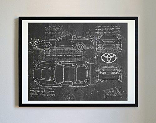 Toyota Car Photo - DolanPaperCo #228 Toyota Supra Veilside 1995 Art Print, da Vinci Sketch - Unframed - Multiple Size/Color Options (11x14, Blackboard)