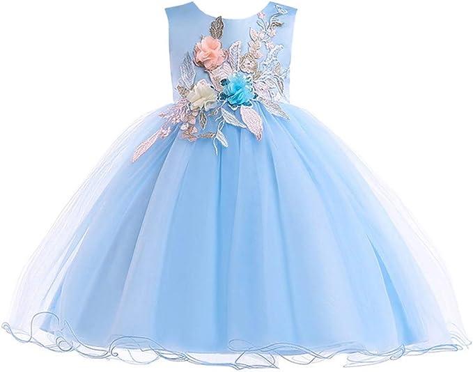 YFCH Vestido de Tul Princesa Bordado de Flores para Niñas Falda ...