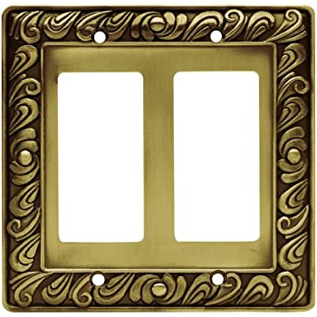 Franklin Brass 64038 Paisley Double Decorator Wall Plate / Switch Plate / Cover, Tumbled Antique Brass