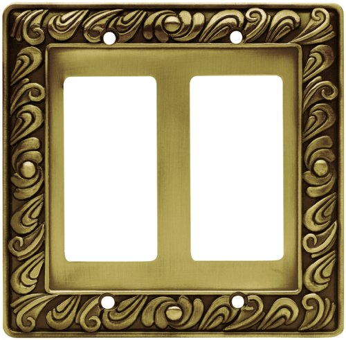 (Franklin Brass 64038 Paisley Double Decorator Wall Plate/Switch Plate/Cover, Tumbled Antique Brass)