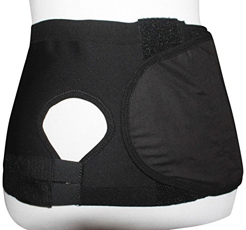 Safe n' Simple Left Hernia Support Belt with Adjustable Hole, 20cm, Black, X-Large by Safe n' Simple (Image #1)
