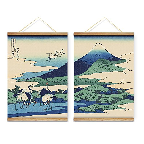 Scroll Wall Art Painting (ARTGOW Japanese Style Views of Mount Fuji Mountains Birds Decoration Wall Art Pictures Canvas Wooden Scroll Paintings For Living Room Ready To Hang)