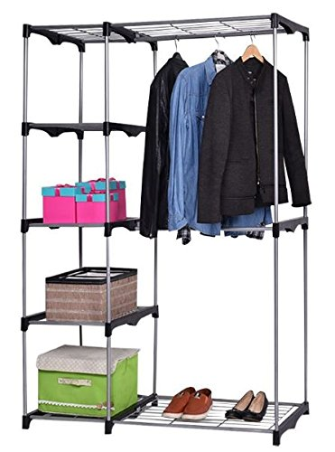 K&A Company Rack Garment Portable Hanger Clothes Closet Organizer Storage Adjustable Wardrobe Rolling Rail Duty Heavy Shelf Home Double