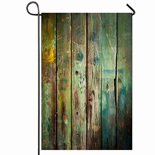 - Ahawoso Outdoor Garden Flag 12x18 Inches Flooring Green Rustic Old Wood Wooden Vintage Antique Rugged Wall Boarding Seasonal Home Decorative House Yard Sign