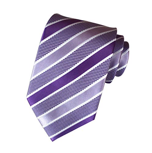 MENDENG New Men's Striped Silk Tie Business Wedding Necktie,Purple,One Size