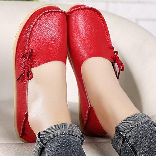 EQUICK Damen Leder Slipper Lässige Mokassin Driving Outdoor Schuhe Innen Flache Slip-On Slippers 0red
