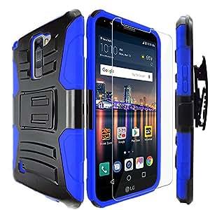 LG Stylo 2 Case,IDEA LINE INC(TM)Heavy Duty Armor Shock Proof Dual Layer Holster Locking Belt Swivel Clip with Kick Stand+Free Stylus Pen+Free HD Screen Protector(Blue/Black)