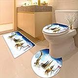 3 Piece Bathroom Mat Set Asian Meditation Icons Elements Over Clouds Yoga Yin yang Om Image Golden Black Soft Shaggy Non Slip