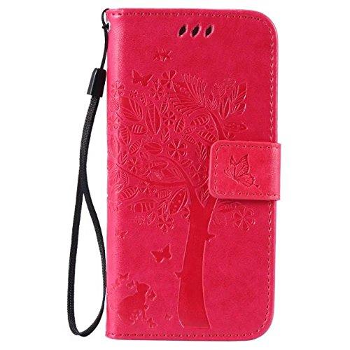 Solid Color Premium PU-Leder-Etui Prägung Muster Flip-Standplatz Fall Deckung mit Karte und Bargeld Schlitze für iPhone 6 6s 4,7 Zoll ( Color : Rose )
