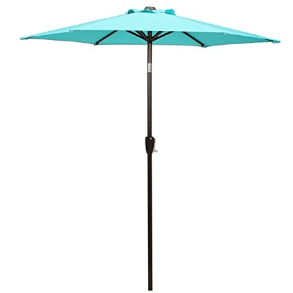 DOMI OUTDOOR LIVING Patio Umbrella, 7u0027 Outdoor Table Market Umbrella With  Push Button Tilt