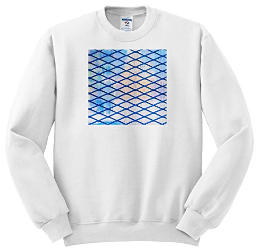 Price comparison product image 3dRose Alexis Photography - Abstracts - Image of Blue Rhomb Grid, Soft Colors Backdrop. Industrial Abstract - Sweatshirts - Youth Sweatshirt Large(14-16) (ss_285869_12)