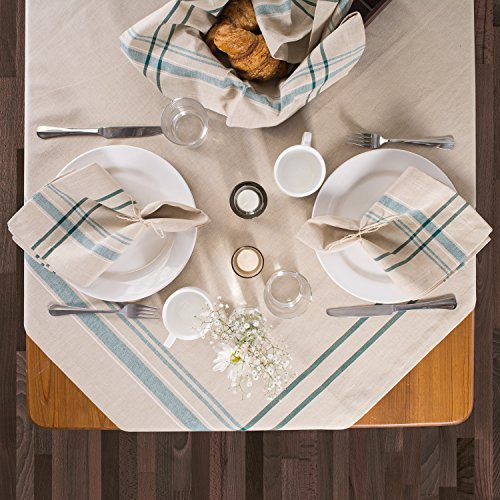 DII 100% Cotton, Machine Washable, Everyday French Stripe Kitchen Tablecloth for Dinner Parties, Summer & Outdoor Picnics - 60x84 Seats 6 to 8 People, Teal by DII (Image #3)