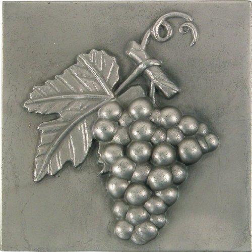 Brass Elegans 27G-PWT Grape Design Solid Metal 4-Inch X 4-Inch (Metal Accent Tile)