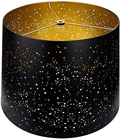 Metal Etching Process Large Lamp Shades, Alucset Drum Big Lampshades for Table Lamp and Floor Light, Sky Stars Design, 12x14x10 inch,Spider Black Gold