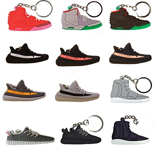 Yeezy History Pack - 12 Silicone Rubber Keychains (Sneaker Keychains)