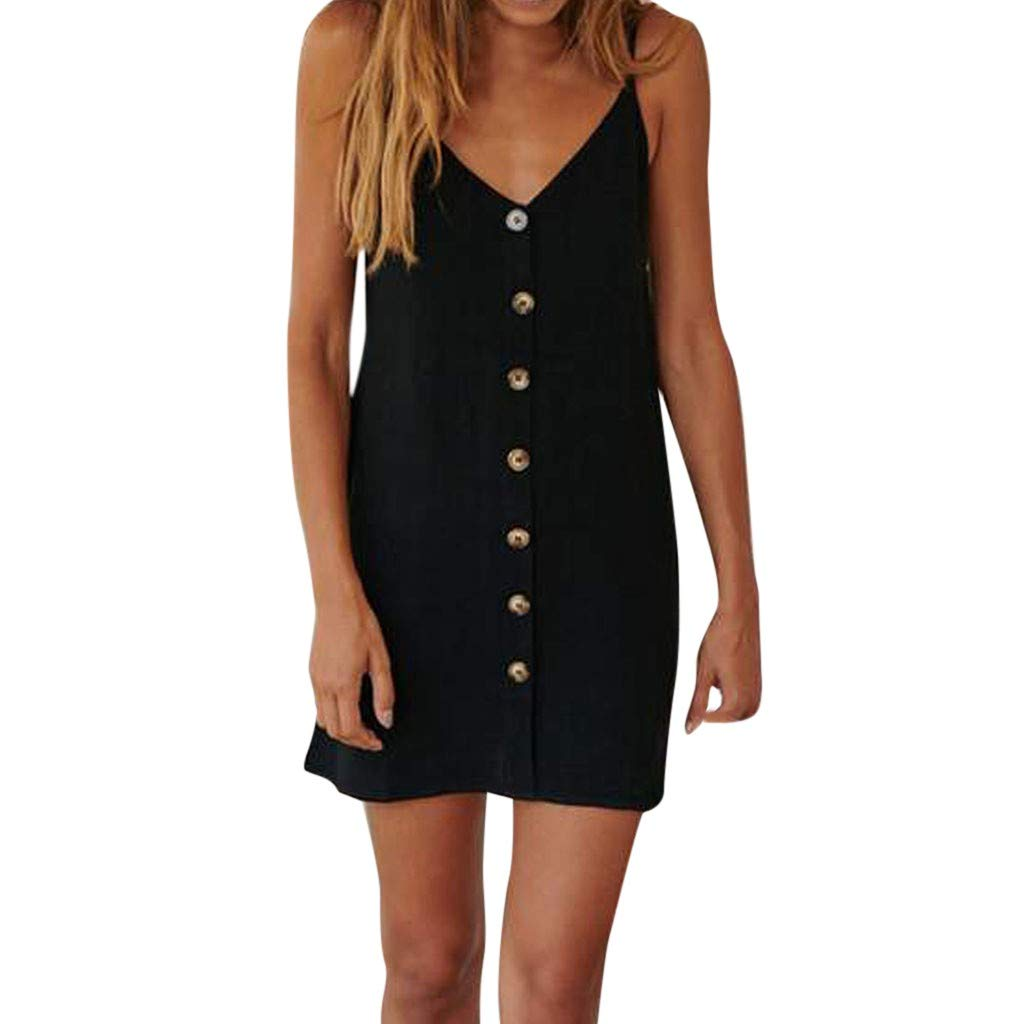 Womens Casual Buttons Trim V-Neck Sling Sleeveless Solid Mini Dress Everyday Wear Dress