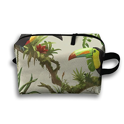 Heart Wolf Toucans In A Tree Travel Buggy Bag Large Space Toiletry Pouch Bag Zipper Clutch Bag Traveling Bag Hand Bag