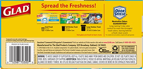 012587703205 - Glad ForceFlex OdorShield Tall Kitchen Drawstring Trash Bags, Fresh Clean, 13 Gallon, 34 Count carousel main 1