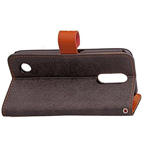 SRY-case Cubierta de la caja de la cartera de cuero de la PU con la hebilla y el soporte del remache del cuero genuino adaptado para LG K10 (2017) ( Color : Blue ) Black