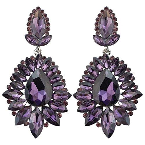 (idealway Luxury Drop Earring Inlay Crystal Rhinestone Dangle Long Earrings For Women Jewelry (Purple))