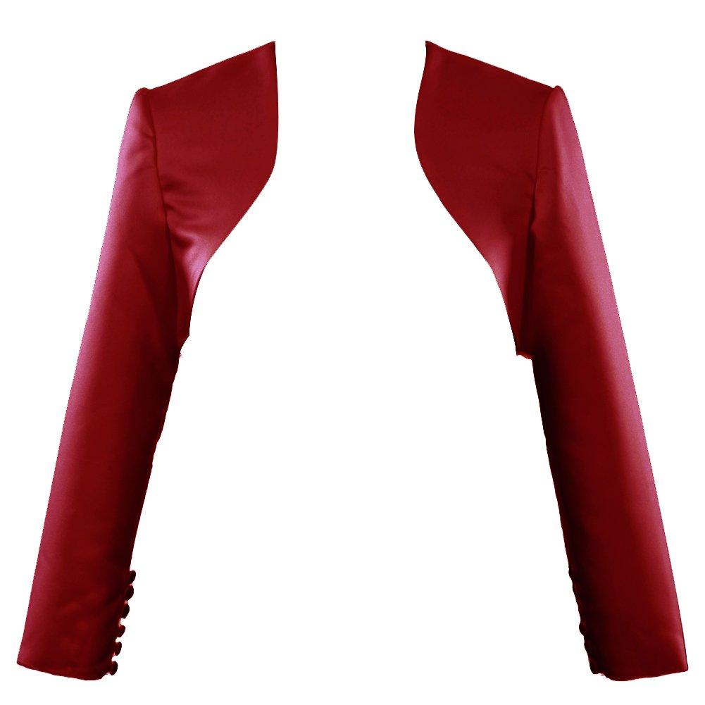 Burgundy H.S.D Womens Modest Satin Long Sleeves Bolero Shrug