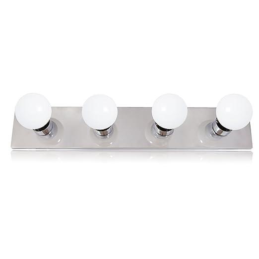 brand new eab66 f27aa Maxxima 4-Bulb Bathroom Vanity Light Fixture, Chrome Finish, 2 Ft. (24  inches) Light Strip (LED G25 Bulbs Included)