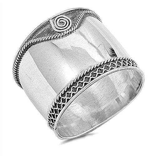 Wide Bali Spiral Ring New .925 Sterling Silver Thin Band Size (Spiral Sterling Silver Fashion Ring)
