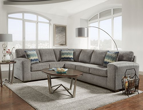 Roundhill Furniture Bergen Fabric Sectional Sofa (Best Fabric Sectional Sofa)