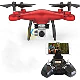 Gbell HD Camera RC Drone - S10W 0.3MP 2.4Ghz WIFI FPV Headless Mode Altitude Hold Quadcopter for Beginnners,Ideal Birthday Christmas New Year Gifts for Kids Adults,White,Black,Red (Red)
